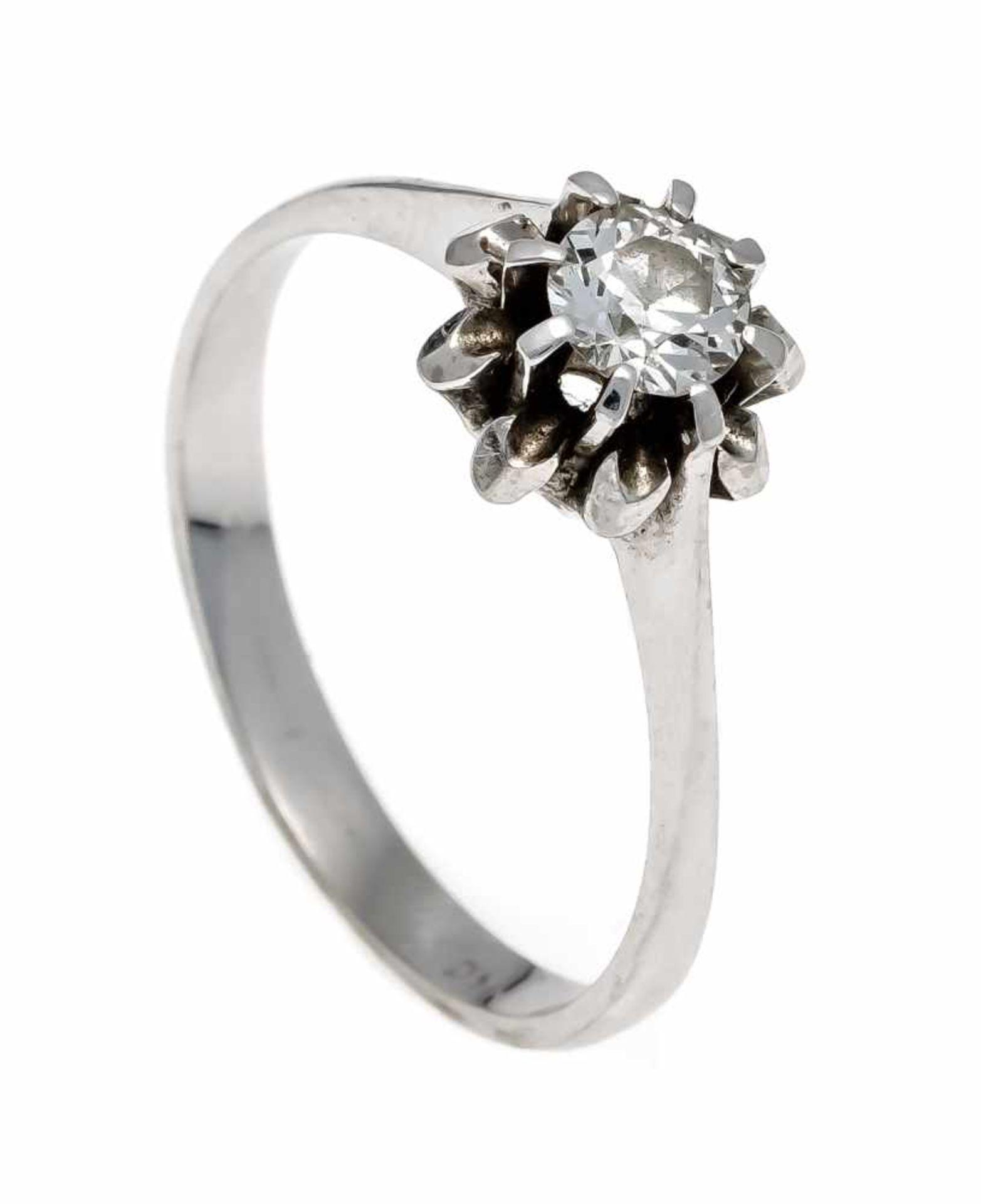 Altschliff-Diamant-Ring WG 750/000 mit einem Altschliff-Diamanten 0,38 ct l.get.W/VS-SI, RG 57, 3,