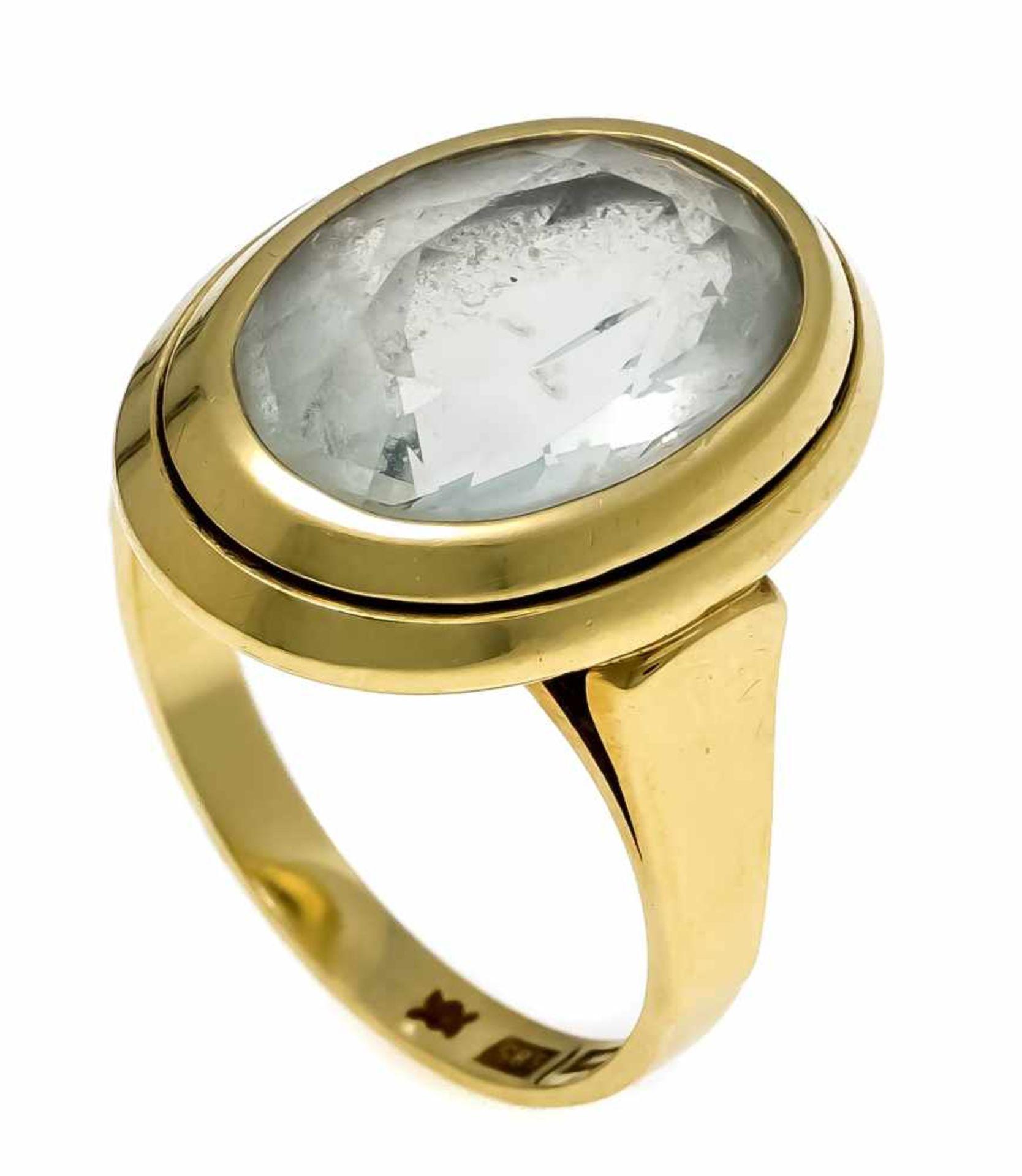 Aquamarin-Ring GG 585/000 mit einem oval fac. Aquamarin 15 x 10,8 mm, RG 53, 5,4 gAquamarine ring GG