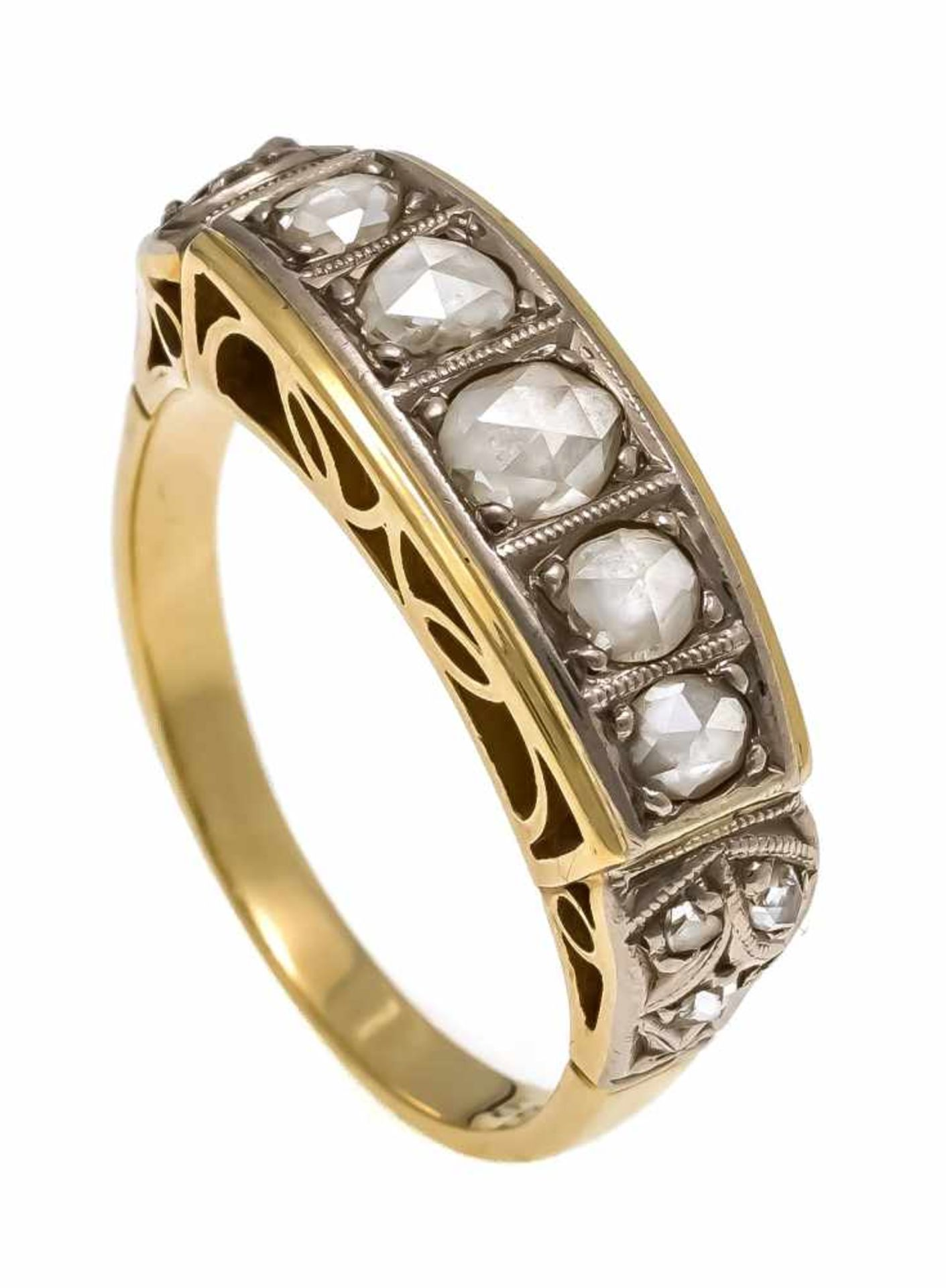 Diamantrosen-Ring GG/WG 585/000 mit 10 Diamantrosen 5 - 1,5 mm (1x fehlt), RG 55, 4,5 gDiamond