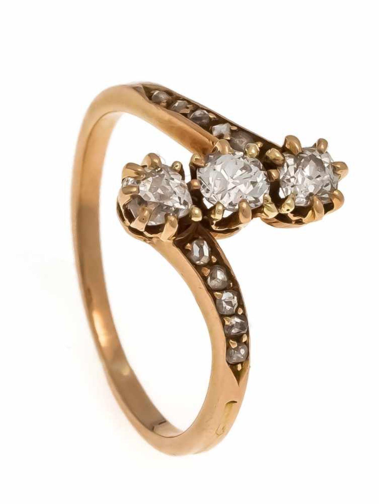 Altschliff-Diamant-Ring GG 585/000 ungest., gepr., mit 3 Altschliff-Diamanten, zus. 0,30 ct W/SI und