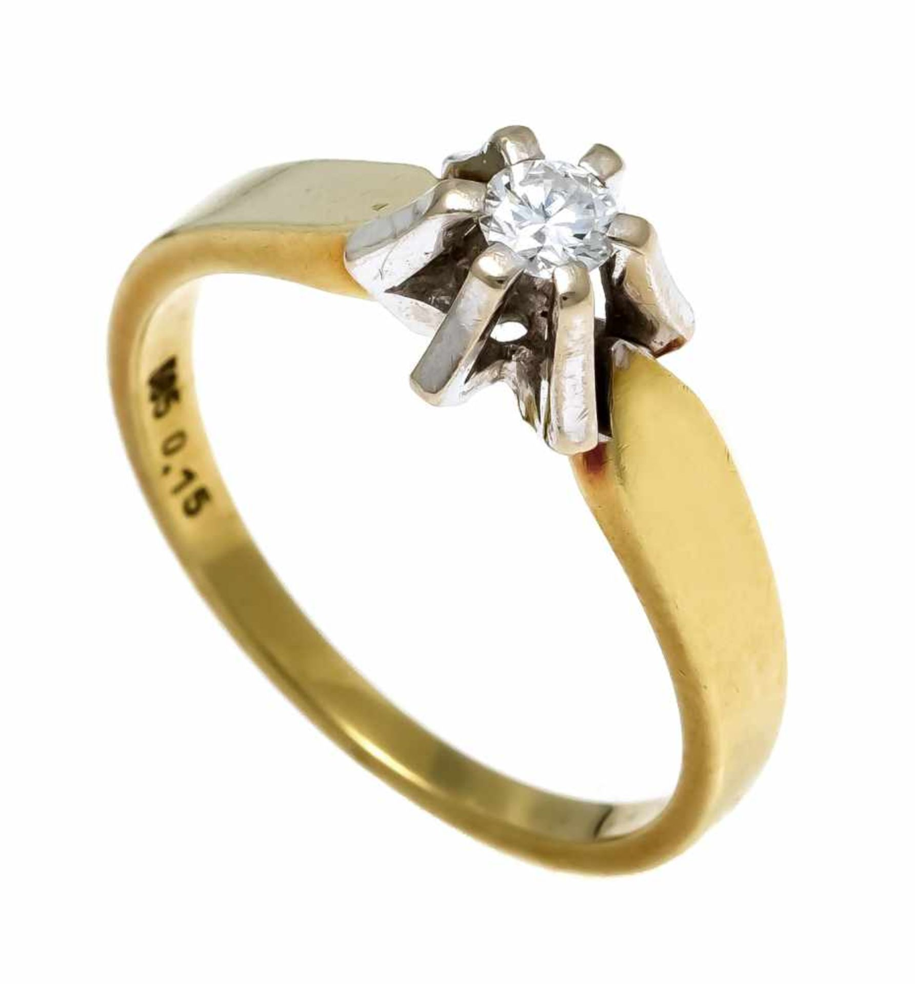 Brillant-Ring GG/WG 585/000 mit einem Brillanten 0,15 ct W/VVS-VS, RG 54, 3,5 gDiamond ring GG /