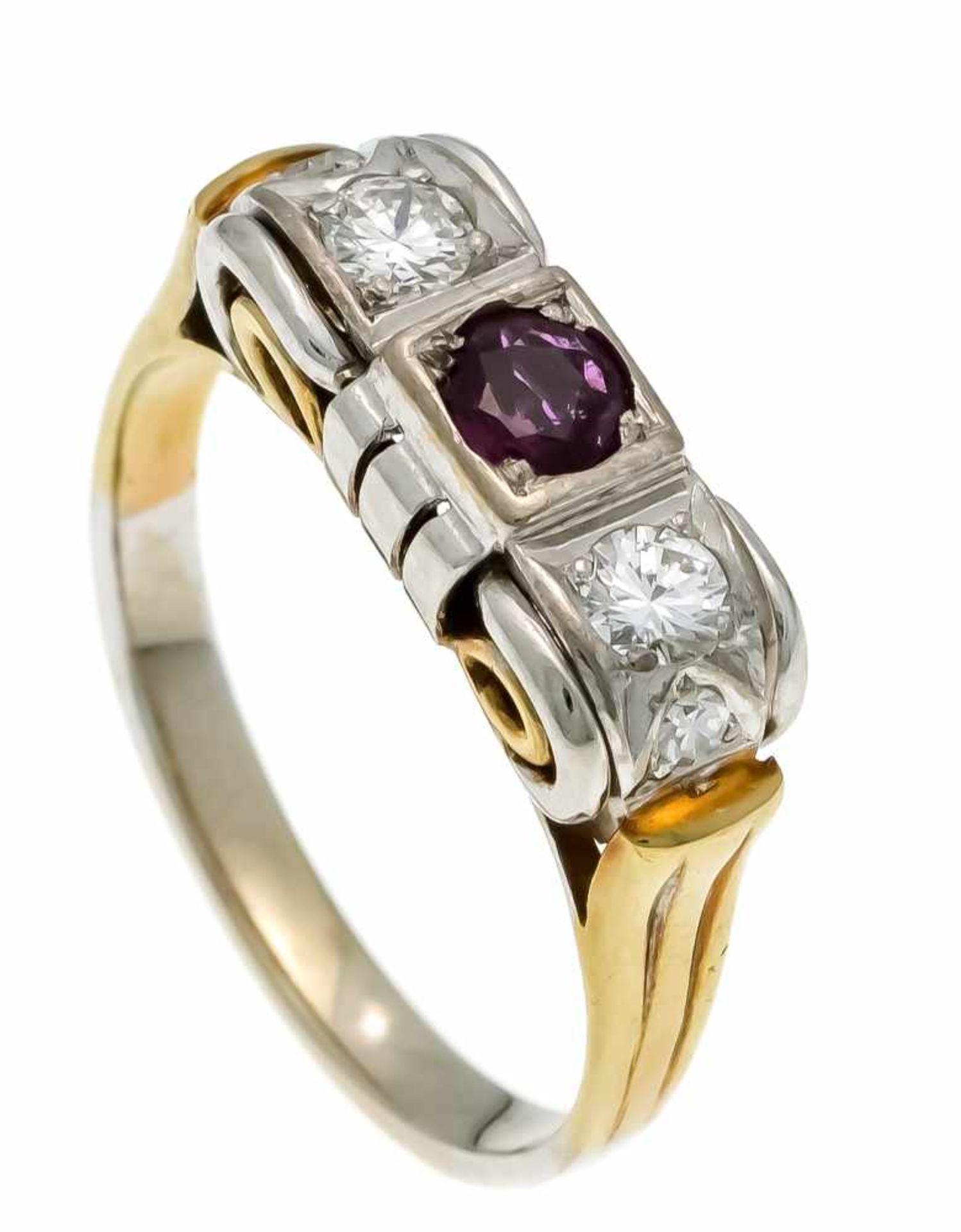 Rubin-Brillant-Ring GG/WG 585/000 mit einem rund fac. Rubin 4 mm in guter Farbe und Reinheit,