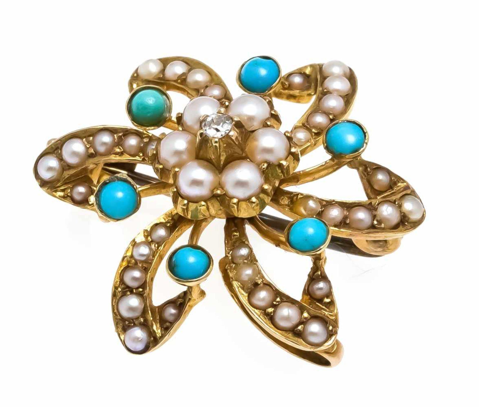 Türkis-Perlen-Diamant-Sternbrosche GG 585/000 ungest., gepr., mit Altschliff-Diamanten 0,02 ct W/SI,