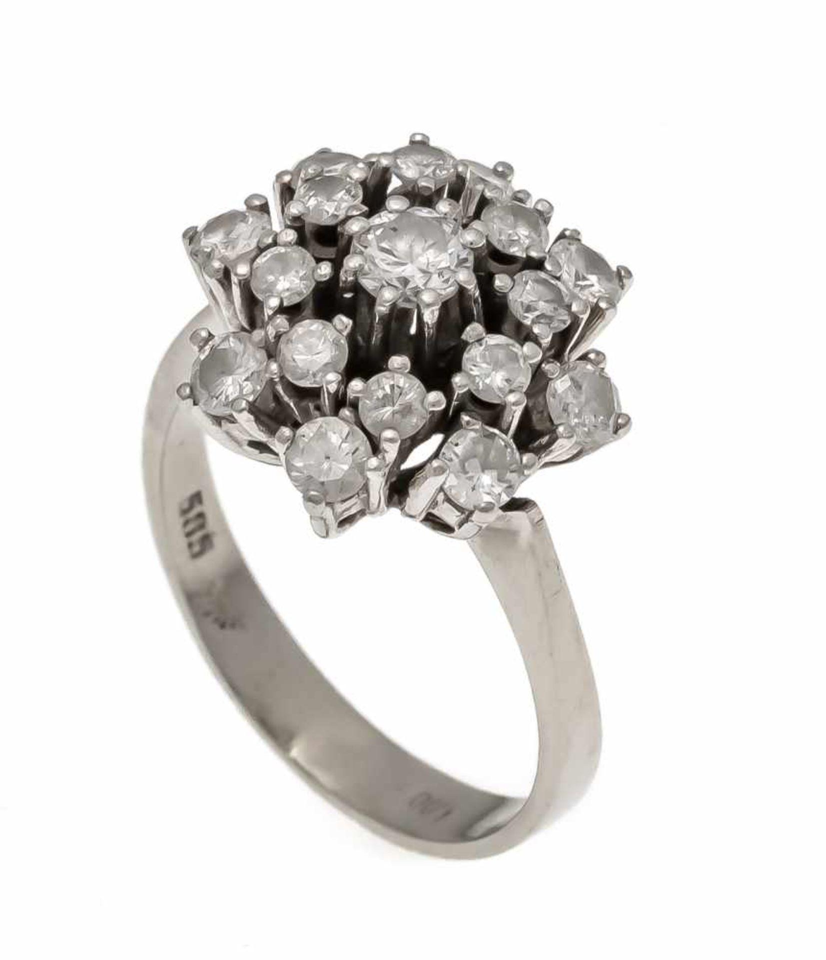 Brillant-Ring WG 585/000 mit Brillanten, zus. 1,0 ct W/SI-PI, RG 48, 3,9 gDiamond ring, WG 585/