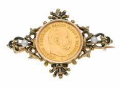 Münz-Brosche Silber 800/000 ungest., gepr., mit 5 Mark Preussen 1877, Nachprägung GG 900/000 und 2