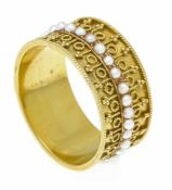 Flussperlen-Ring GG 625/000 (15 Kt) rundherum mit Flussperlen 1,7 mm, RG 53, 4,2 gRiver pearl ring