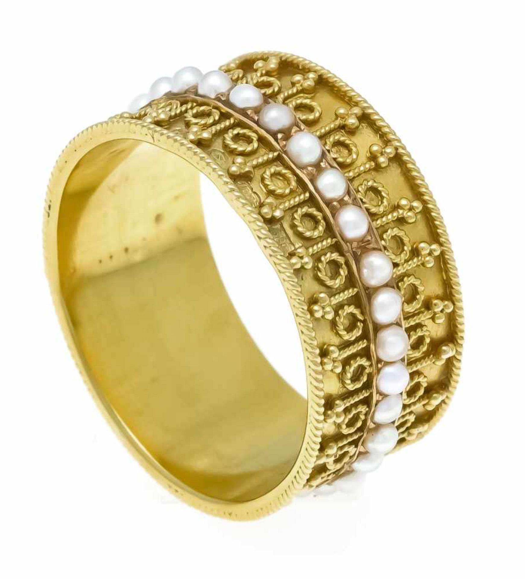 Flussperlen-Ring GG 625/000 (15 Kt) rundherum mit Flussperlen 1,7 mm, RG 53, 4,2 gRiver pearl ring