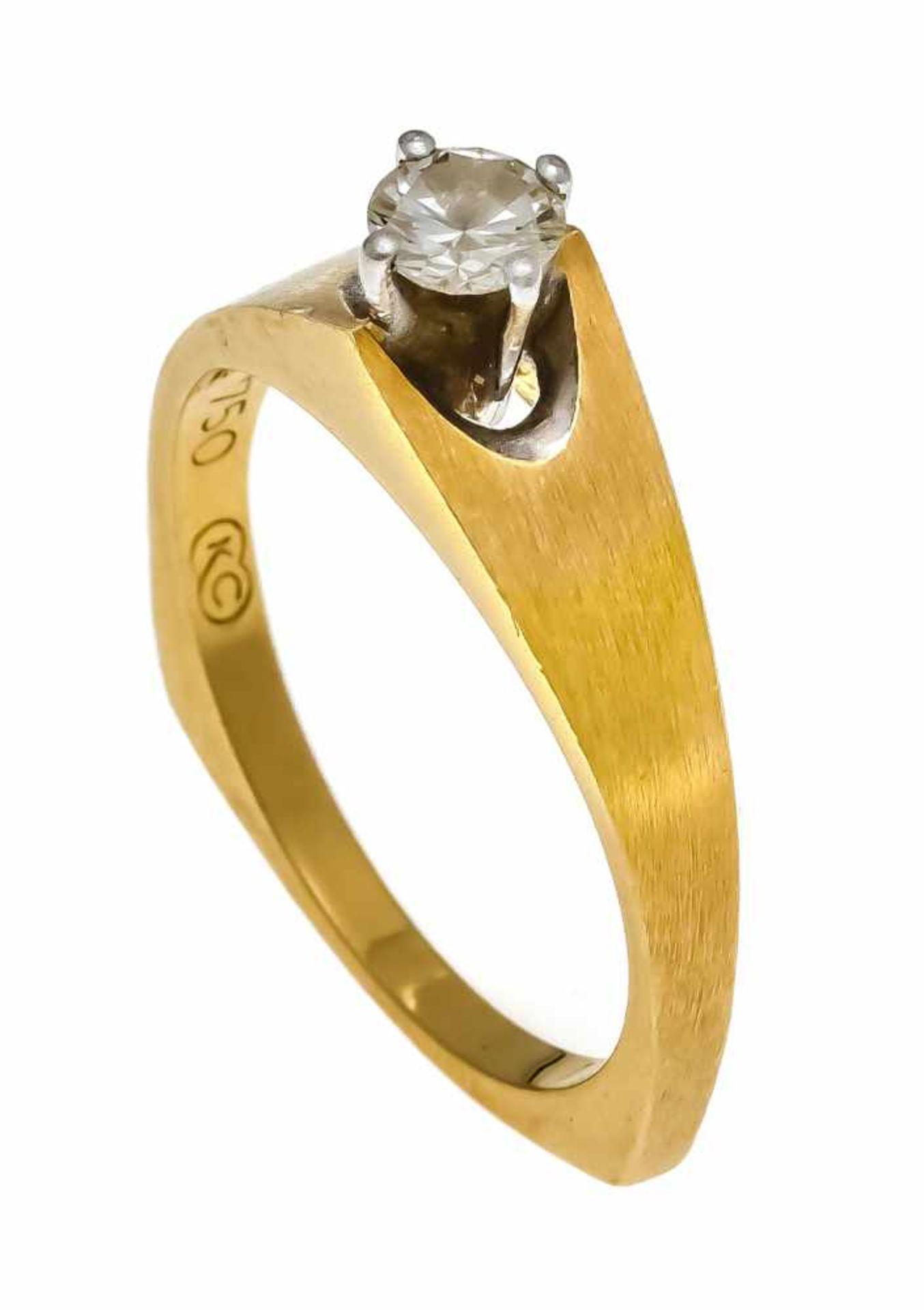 Brillant-Ring GG/WG 750/000 mit Brillant 0,30 ct W/VS, RG 55, Meisterpunze KC, 4,2 gDiamond ring