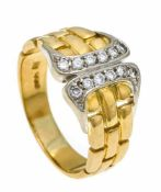 Brillant-Ring GG/WG 750/000 mit 12 Brillanten, zus. 0,24 ct W/VS-SI, RG 57, 7,5 gDiamond ring GG /