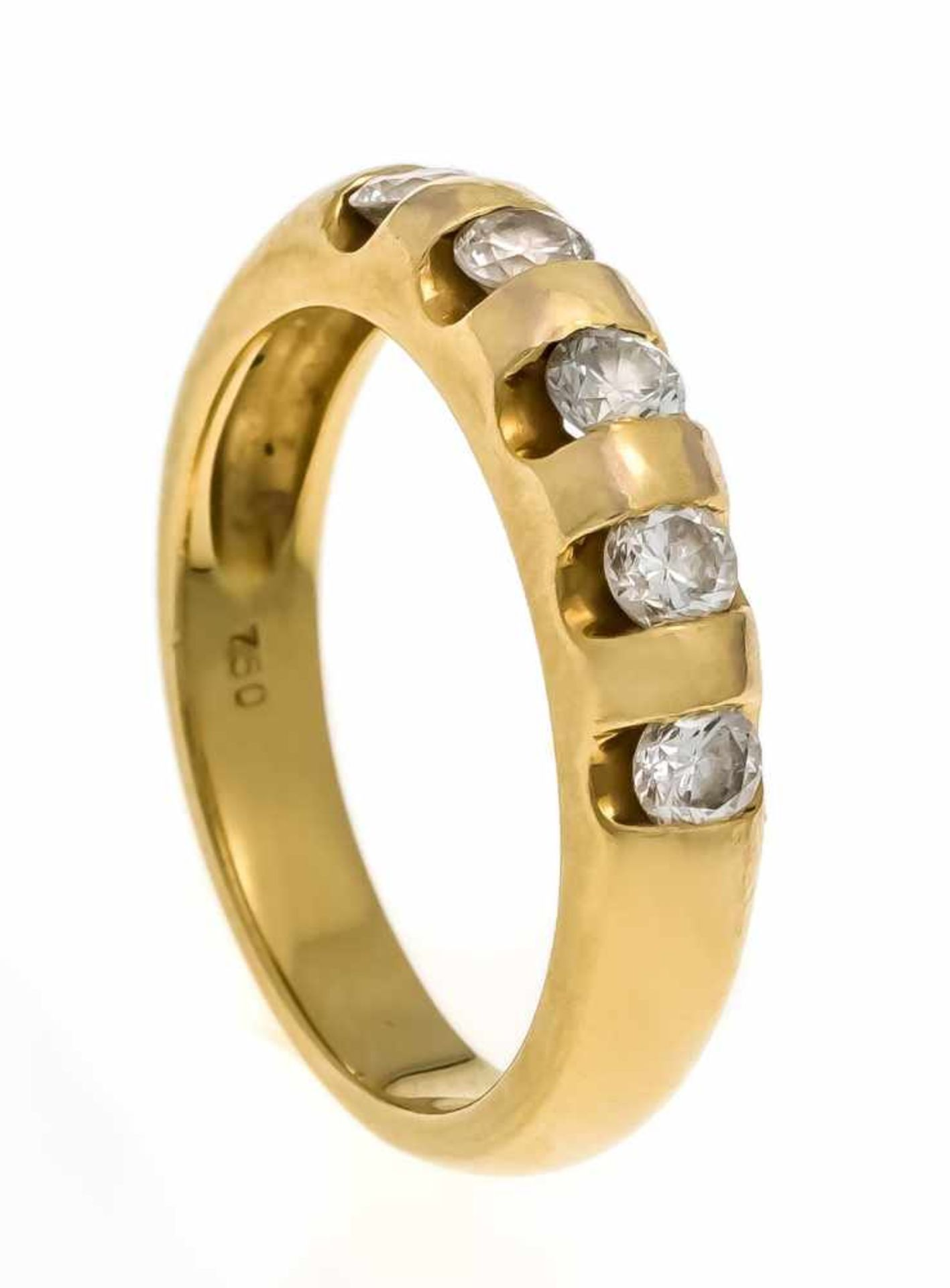Brillant-Ring GG 750/000 mit 5 Brillanten, zus. 0,57 ct l.get.W-W/VS, RG 55, 6,0 gDiamond ring, gold