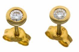 Brillant-Ohrstecker GG 585/000 mit 2 Brillanten, zus. 0,26 ct TW/SI-PI1, D. 5 mm, 1,0 gBrilliant ear