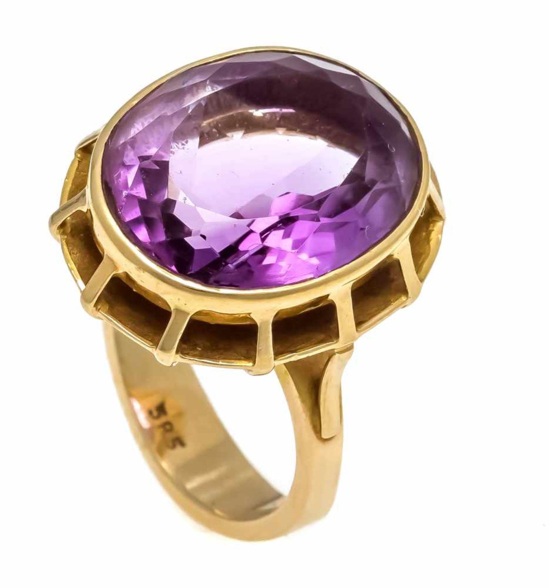 Amethyst-Ring GG 585/000 mit einem oval fac. Amethyst 17 x 14,2 mm, RG 54, 9,0 gAmethyst ring GG