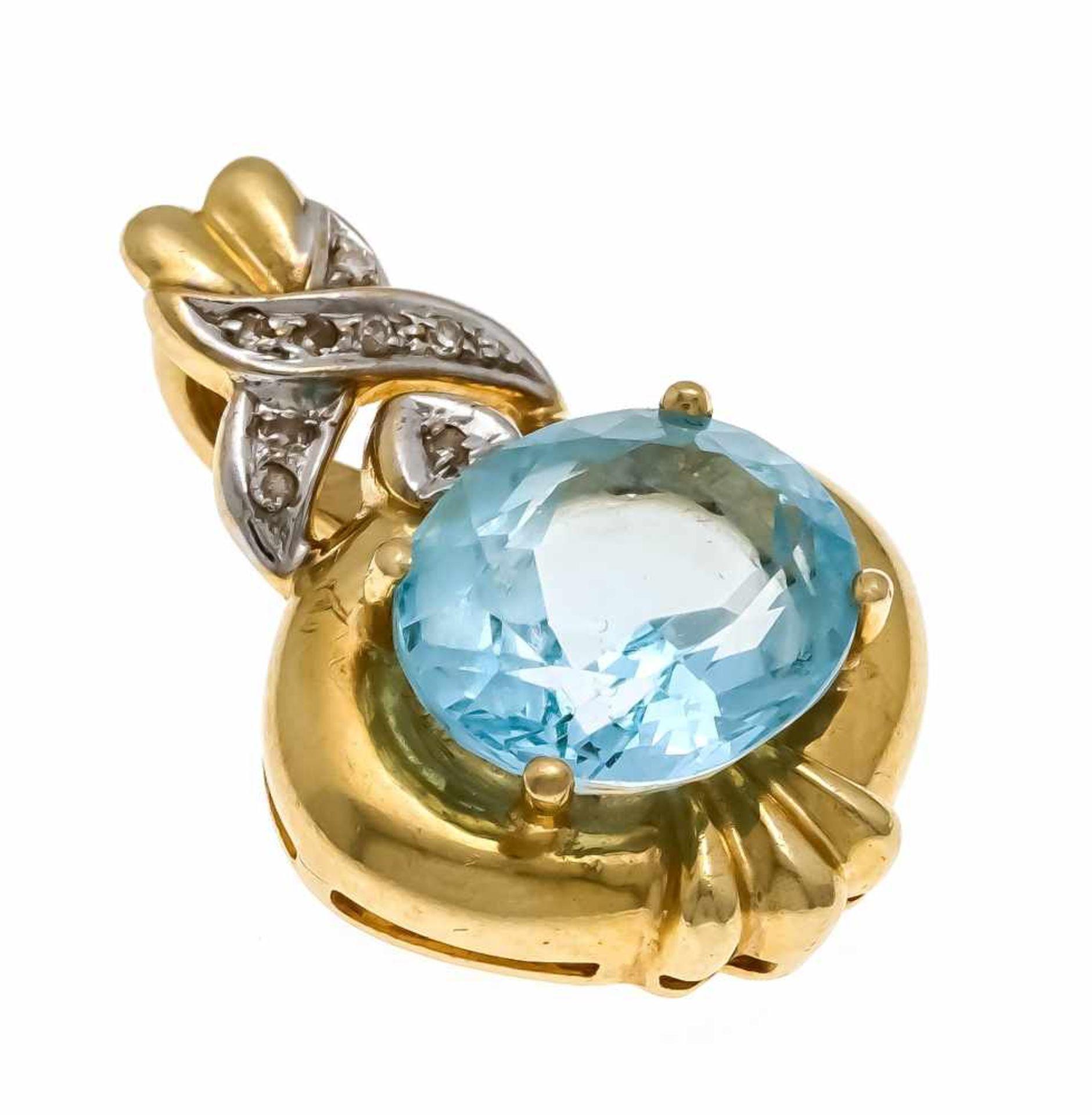 Blautopas-Diamant-Clipanhänger GG/WG 585/000 mit einem oval fac. Blautopas 12 x 10 mm und 8
