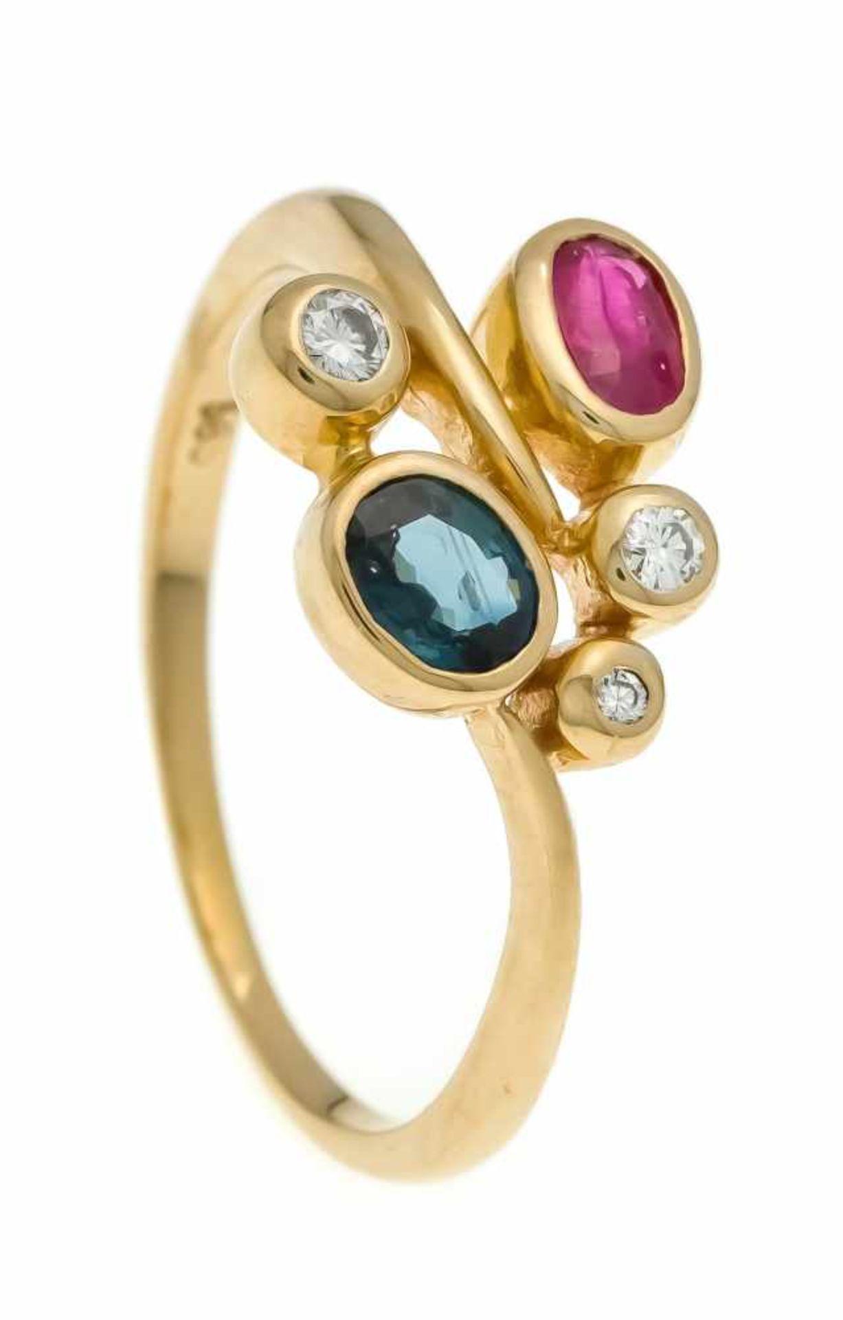 Rubin-Saphir-Brillant-Ring RG 585/000 mit je einem oval fac. Rubin 4,8 x 3,2 mm, Saphir 4,9 x 4,0 mm