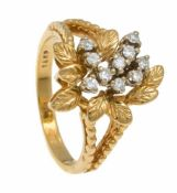Diamant-Ring GG 585/000 mit 10 Diamanten, zus. 0,20 ct l.get.W/SI, RG 57, 5,3 gDiamond ring GG 585/