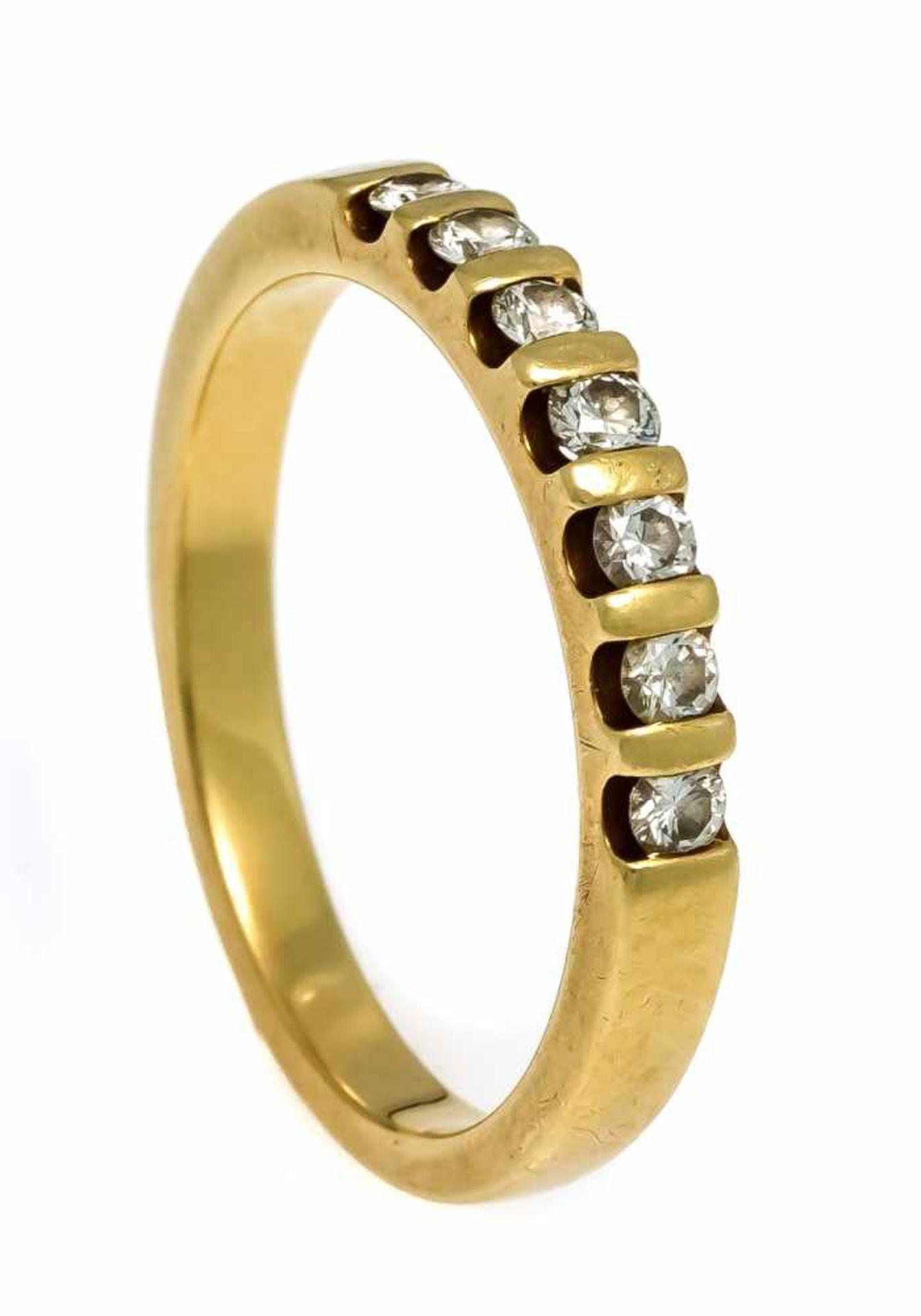 Memory-Ring GG 750/000 mit 7 Brillanten, zus. 0,40 ct l.get.W/VS-SI, RG 59, 5,3 gMemory ring GG