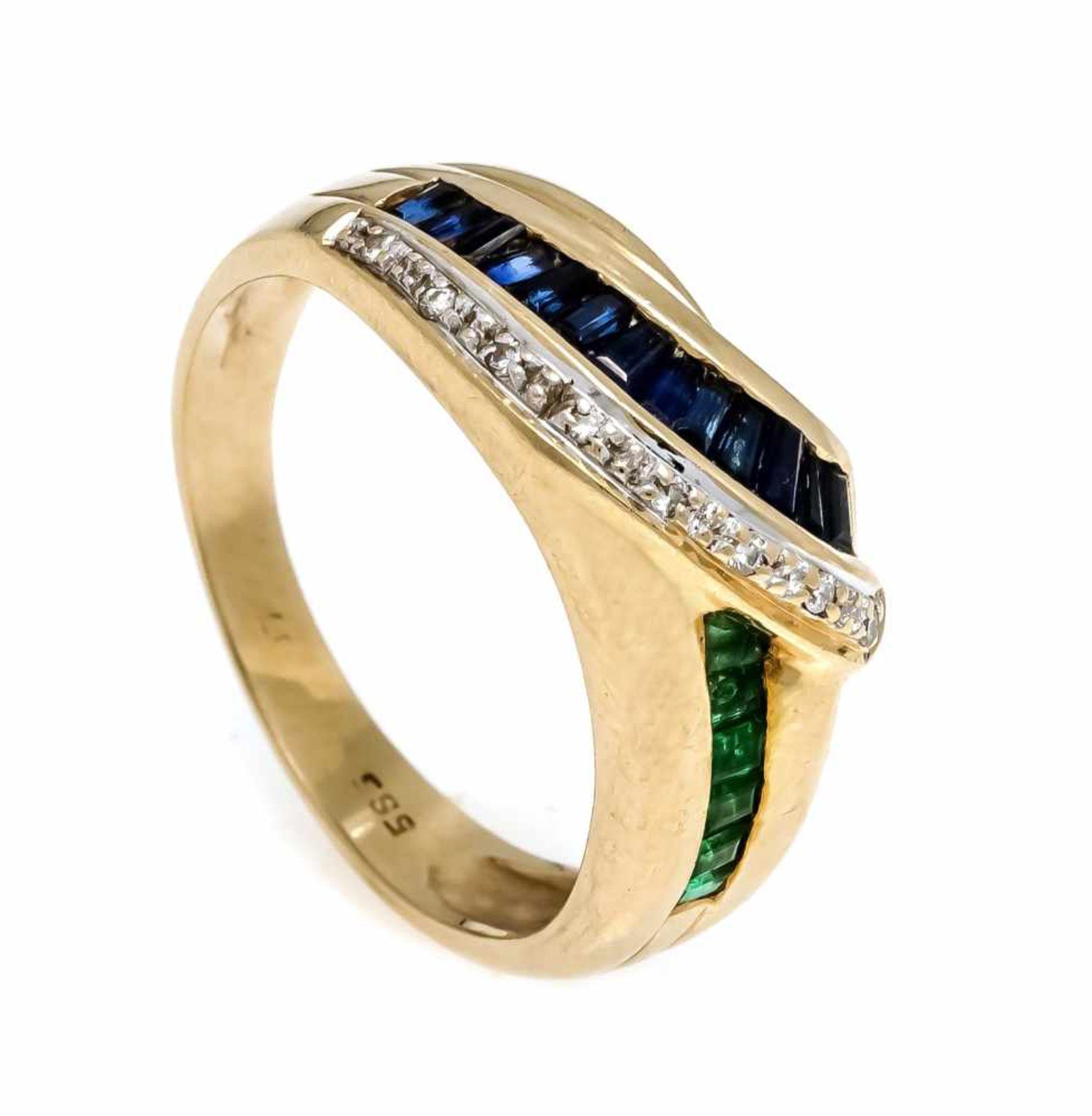 Saphir-Smaragd-Brillant-Ring GG 585/000 mit baguetteförmig fac. Saphiren 2,5 mm, carréförmig fac.