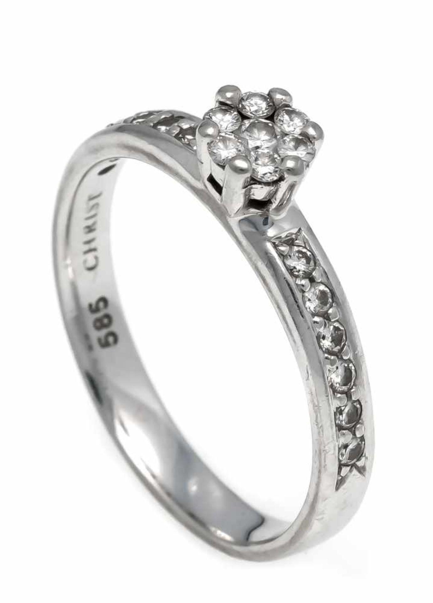 Christ Brillant-Ring WG 585/000 mit 19 Brillanten, zus. 0,48 ct W/VS, RG 54, 2,8 gChrist brilliant