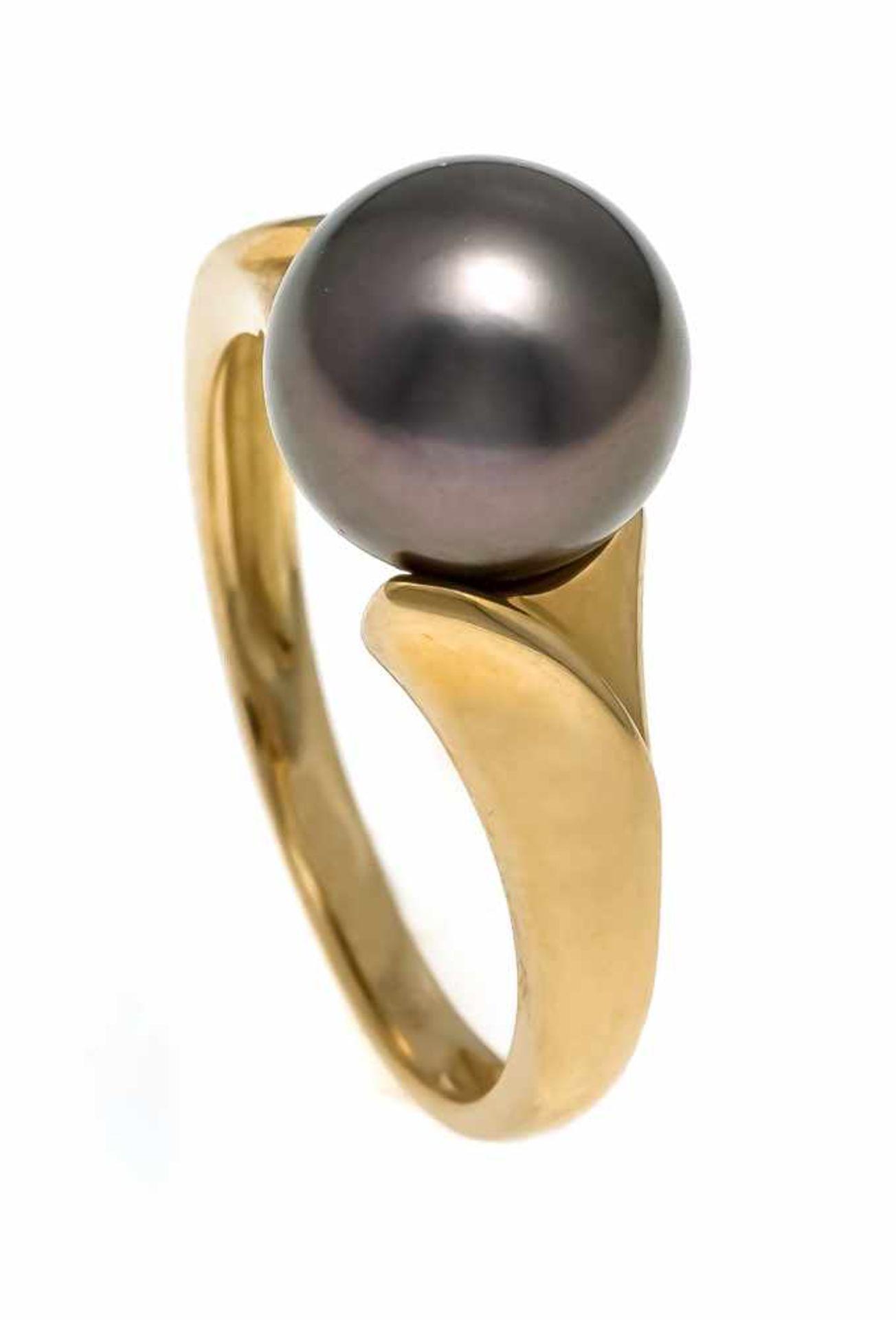 Tahiti-Ring GG 585/000 mit einer Tahitiperle 9,5 mm mit sehr sehr wenig natürlichen Merkmalen und