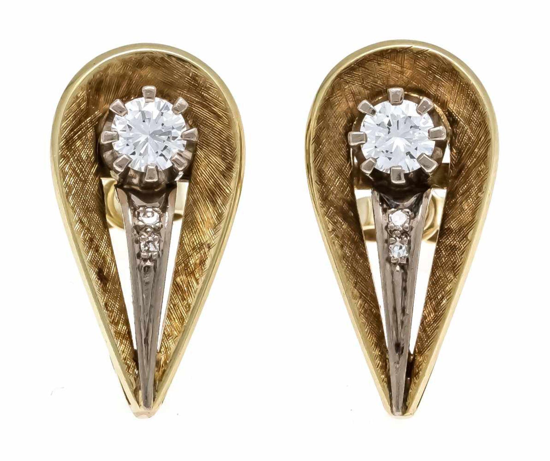Brillant-Ohrstecker GG/WG 585/000 mit 2 Brillanten und 4 Diamanten, zus. 0,52 ct TW/VS, L. 21 mm,