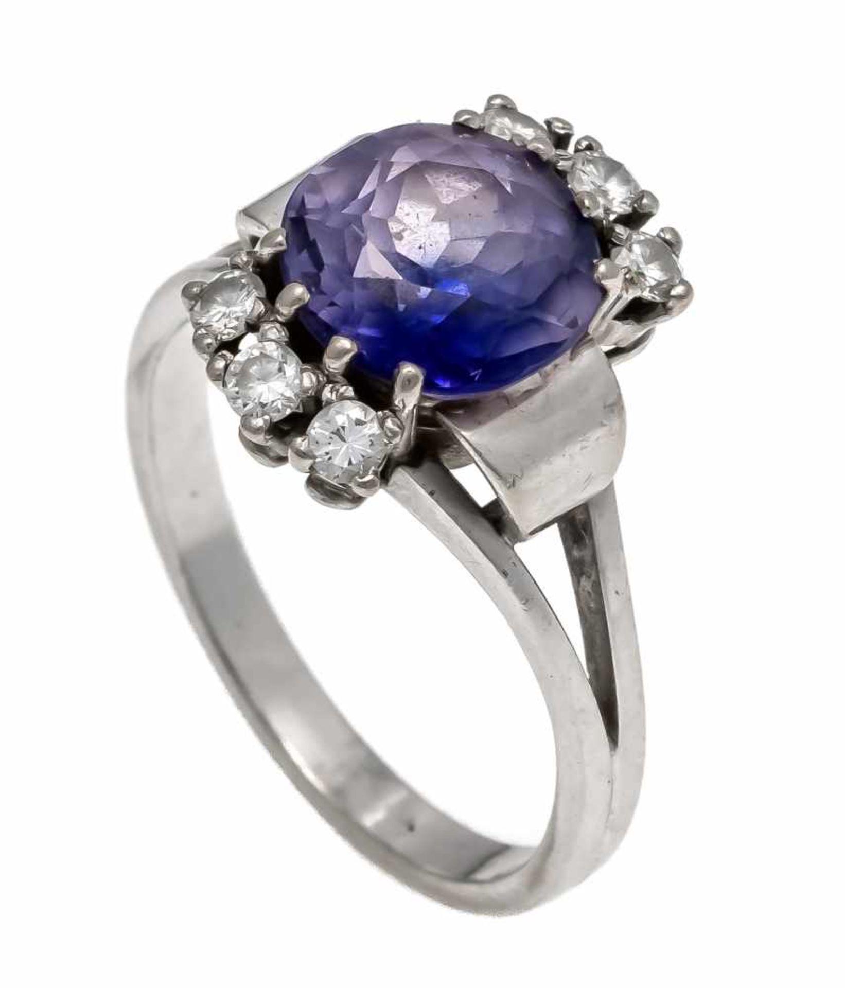 Edelstein-Diamant-Ring WG 585/000 mit einer rund fac. Edelsteindoublette 9,5 mm und 6 Brillanten,