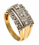 Brillant-Ring GG/WG 585/000 mit 13 Brillanten, zus. 0,20 ct W/VS-SI, RG 59, 5,8 gDiamond ring GG /