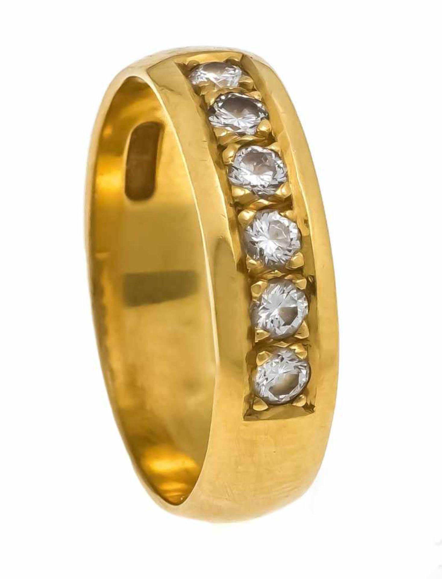 Brillant-Ring GG 900/000 mit 6 Brillanten, zus. 0,30 ct TW-W/VVS-VS, RG 57, 6,2 gDiamond ring GG