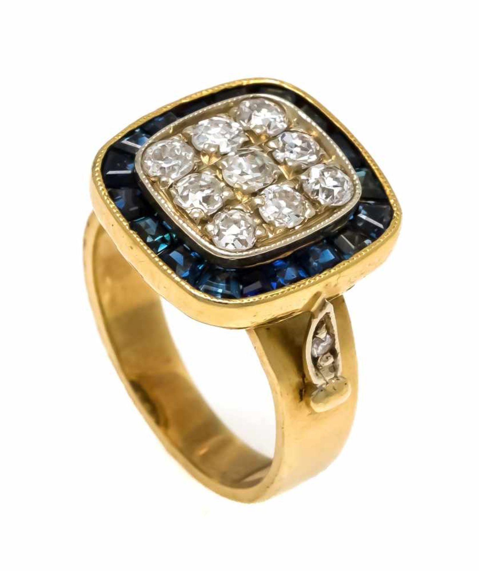 Altschliff-Diamant-Saphir-Ring GG 750/000 mit 11 Altschliff-Diamanten, zus. 0,40 ct TW/SI und fac.