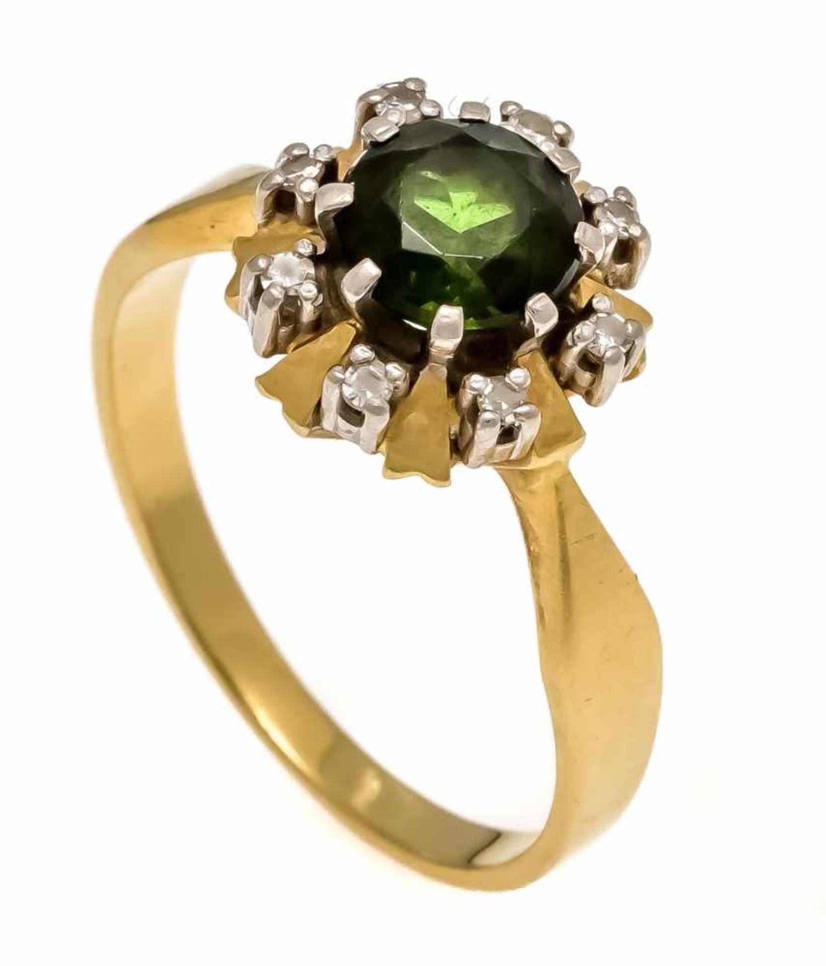 Turmalin-Diamant-Ring GG/WG 750/000 mit einem rund fac. Turmalin 6,2 mm, Verdelith, leicht