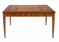 Seltener klassizistischer Spieltisch um 1800, Mahagoni und andere Edelhölzer furniert und