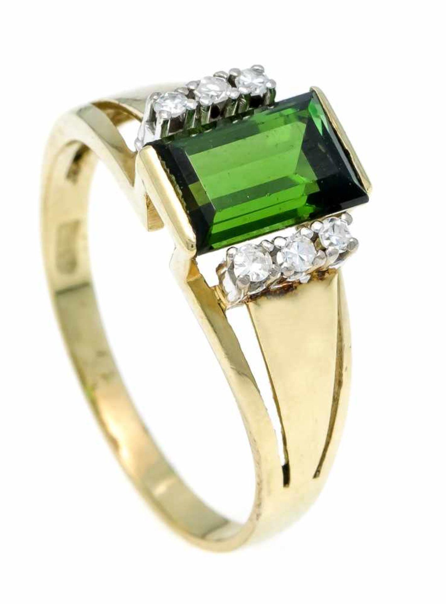 Turmalin-Diamant-Ring GG 585/000 mit einem im Baguetteschliff fac. Turmalin 8,5 x 6 mm in sehr guter