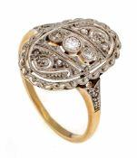 Art Déco Altschliff-Diamant-Ring GG/WG 585/000 mit 3 Altschliff-Diamanten, zus. 0,05 ct W/SI und