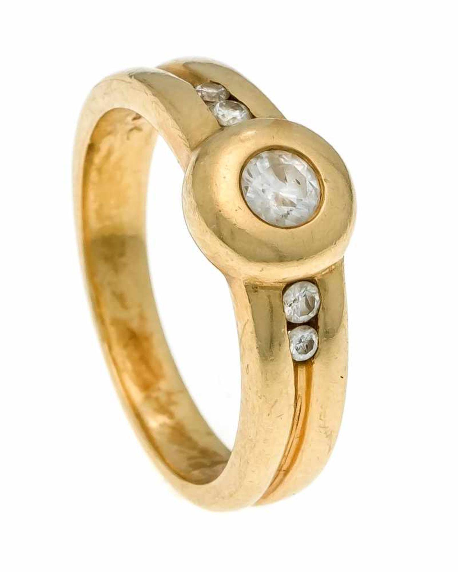 Brillant-Ring GG 585/000 mit 5 Brillanten, zus. 0,28 ct W/PI1, RG 55, 5,9 gDiamond ring, gold 585/