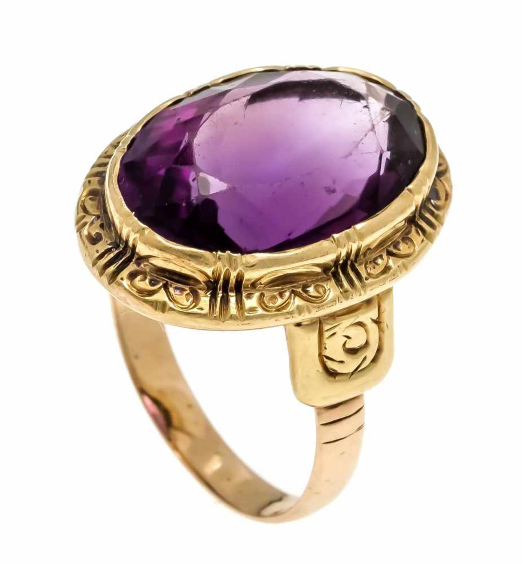 Amethyst-Ring G 585/000 mit einem oval fac. Amethyst 17,5 x 12 mm, RG 56, 7,3 gAmethyst ring G 585/