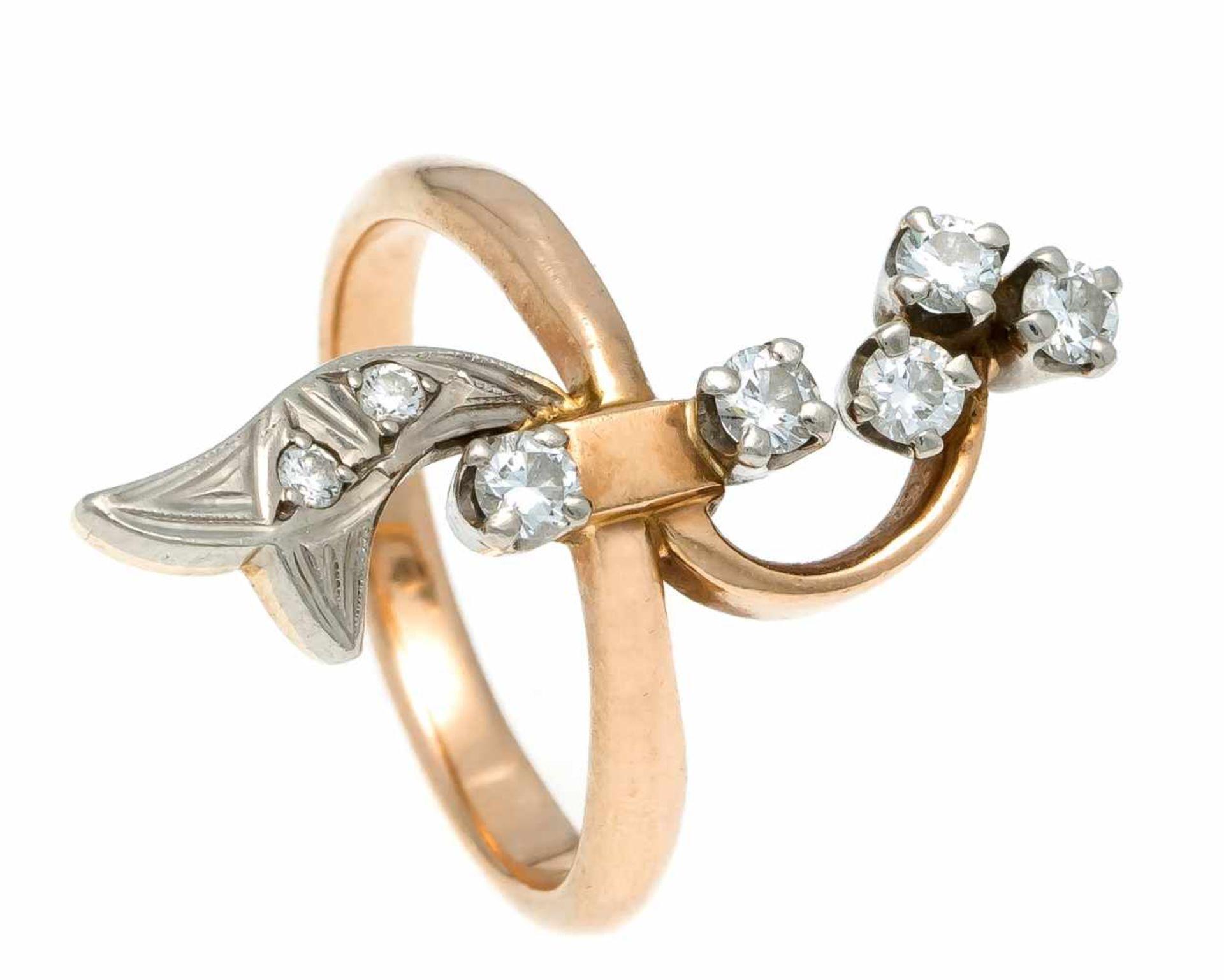 Russischer Brillant-Ring RG 583/000 mit 7 Brillanten, zus. 0,40 ct l.getW/VS-SI, RG 53, 5,4 gRussian