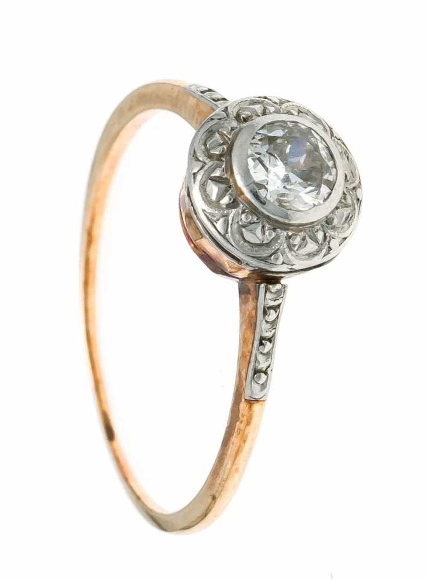 Altschliff-Diamant-Ring GG/WG 585/000 mit einem Altschliff-Diamanten 0,25 ct l.get.W/PI1, RG 51, 1,6