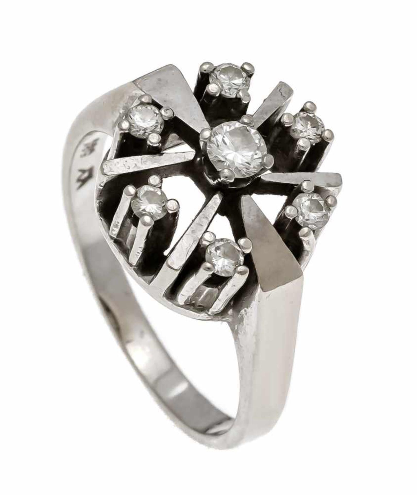 Brillant-Ring WG 585/000 mit 7 Brillanten, zus. 0,32 ct l.get.W/SI, RG 56, 6,3 gDiamond ring WG