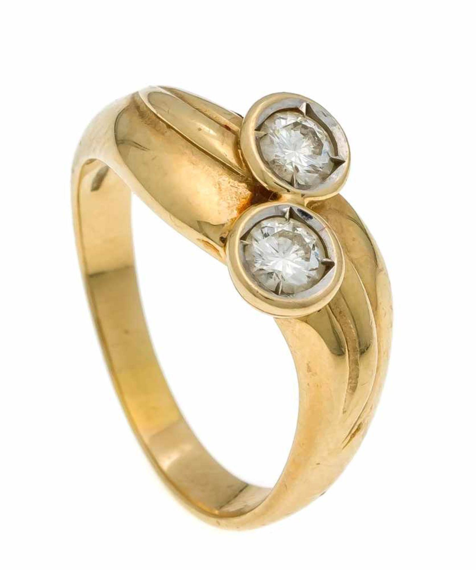 Brillant-Ring GG 585/000 mit 2 Brillanten, zus. 0,46 ct l.get.W/VS, RG 57, 4,4 gDiamond ring, gold