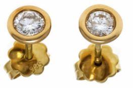 Brillant-Ohrstecker GG 585/000 mit 2 Brillanten, zus. 0,54 ct TW/PI1, D. 6 mm, 1,7 gDiamond ear