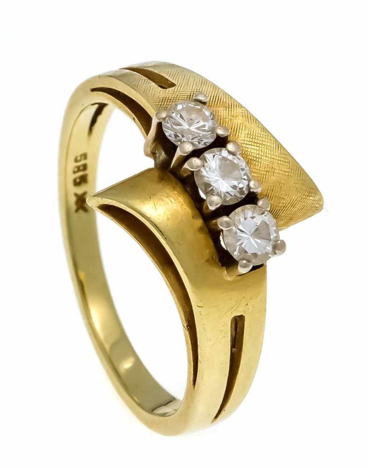 Brillant-Ring GG/WG 585/000 mit 3 Brillanten, zus. 0,42 ct l.get.W/VS, RG 55, 4,0 gDiamond ring GG /