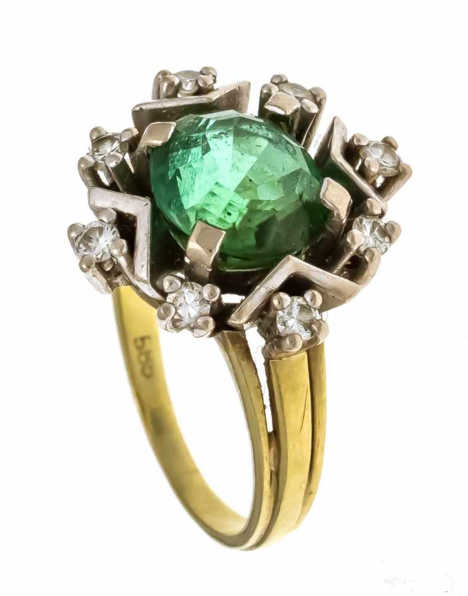 Turmalin-Brillant-Ring GG/WG 585/000 mit einem rund fac., bläulich-grünen Turmalin 9 x 6,5 mm und