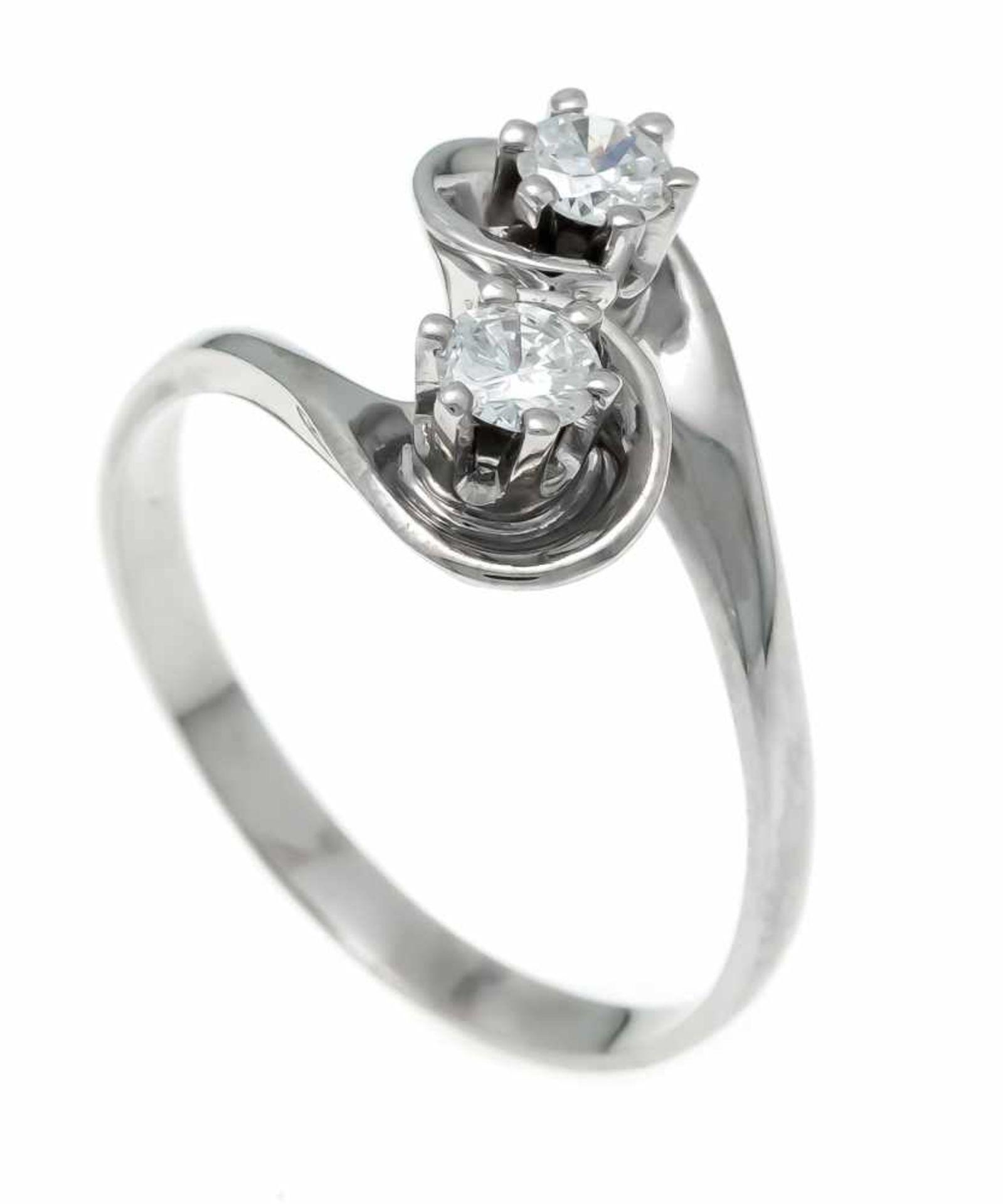 Brillant-Ring WG 750/000 ungest., gepr., mit 2 Brillanten, zus. 0,36 ct TW/VS, RG 55, 3,5 gDiamond