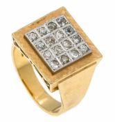 Altschliff-Diamant-Ring GG/WG 750/000 mit 16 Altschliff-Diamanten, zus. 0,40 ct l.get.W/SI-PI, RG