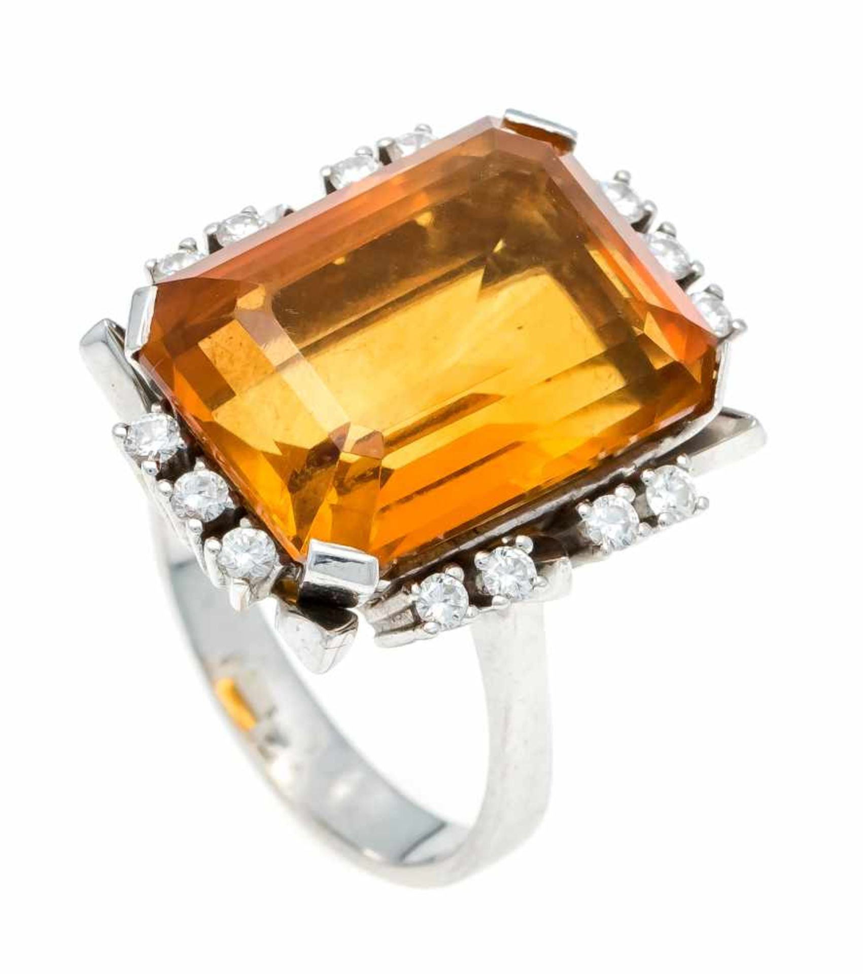 Citrin-Brillant-Ring WG 585/000 mit einem im Smaragdschliff fac. Citrin 17,8 x 12,9 x 8,4 mm und