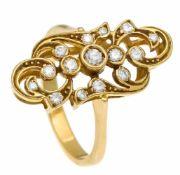 Brillant-Ring GG 750/000 mit 15 Brillanten, zus. 0,21 ct TW-W/VS, RG 53, 4,4 gDiamond ring, gold