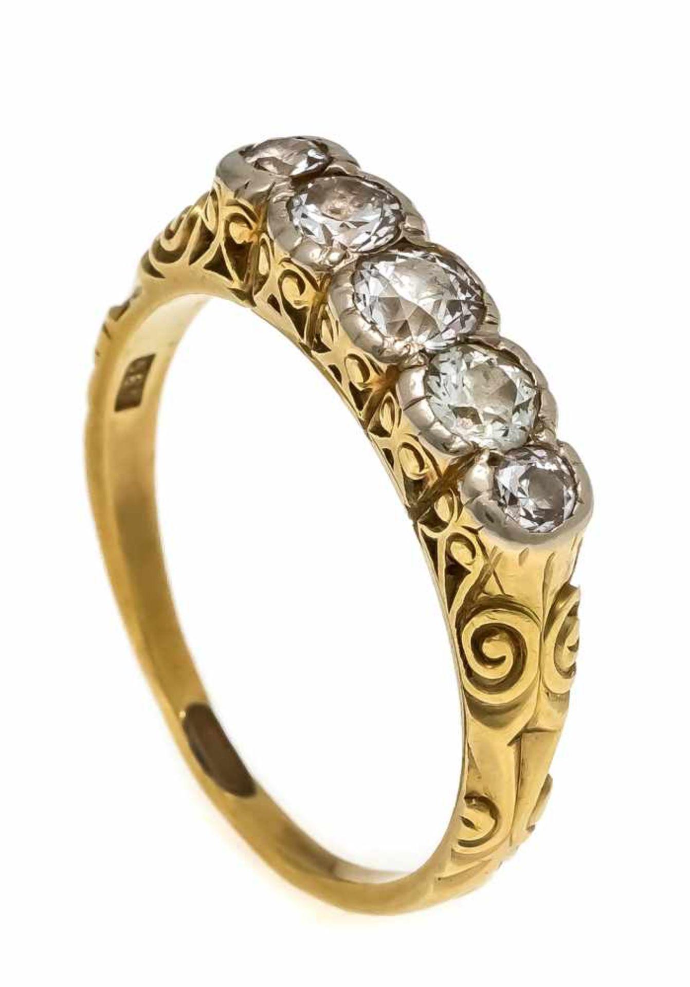 Art Déco Altschliff-Diamant-Ring GG/WG 585/000 mit 5 Altschliff-Diamanten, zus. 0,48 ct l.get.W/