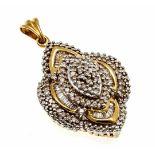 Diamant-Anhänger GG/WG 585/000 mit 90 Diamanten, zus. 0,80 ct W/SI, L. 31 mm, 5,3 gDiamond pendant