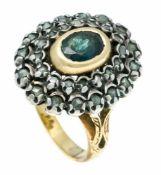 Saphir-Diamantrosen-Ring um 1850 GG/WG 750/000 und Silber ungest., gepr., mit einem oval fac. Saphir