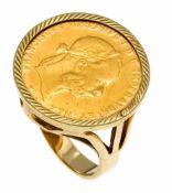 Münz-Ring GG 585/000 mit 10 Österreichischen Franken 1892, Nachprägung GG 900/000, RG 54, 7,6