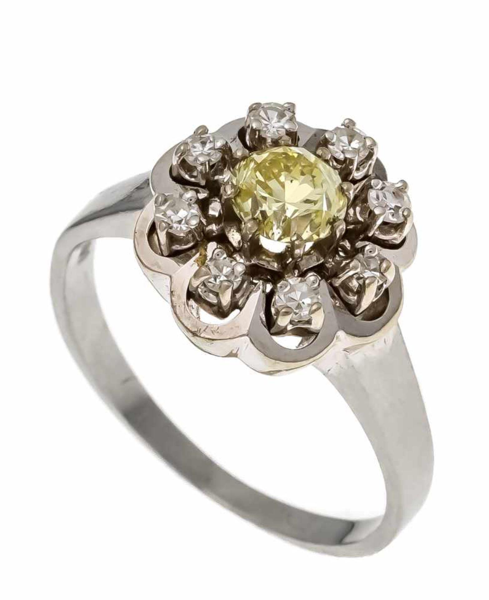 Altschliff-Diamant-Ring WG 585/000 mit einem Altschliff-Diamanten 0,50 ct fancy light yellow/SI1 und